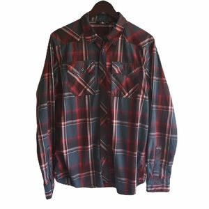 North Face red tartan plaid button down shirt M